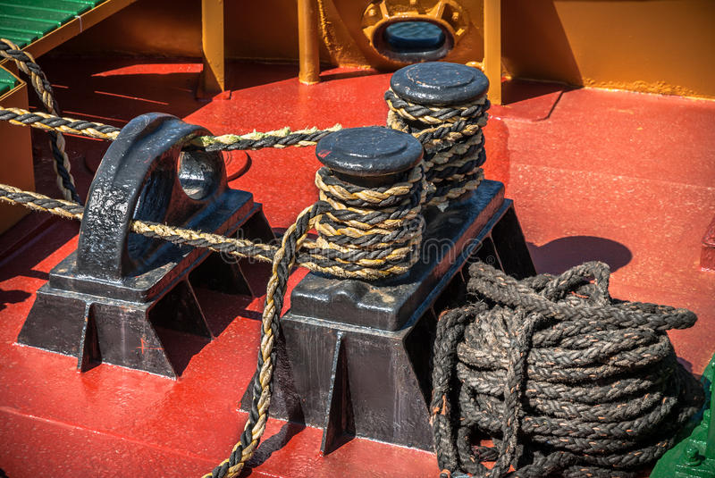 Download Boat Deck Rope stock image. Image of tied, porthole, tighten - 40014357