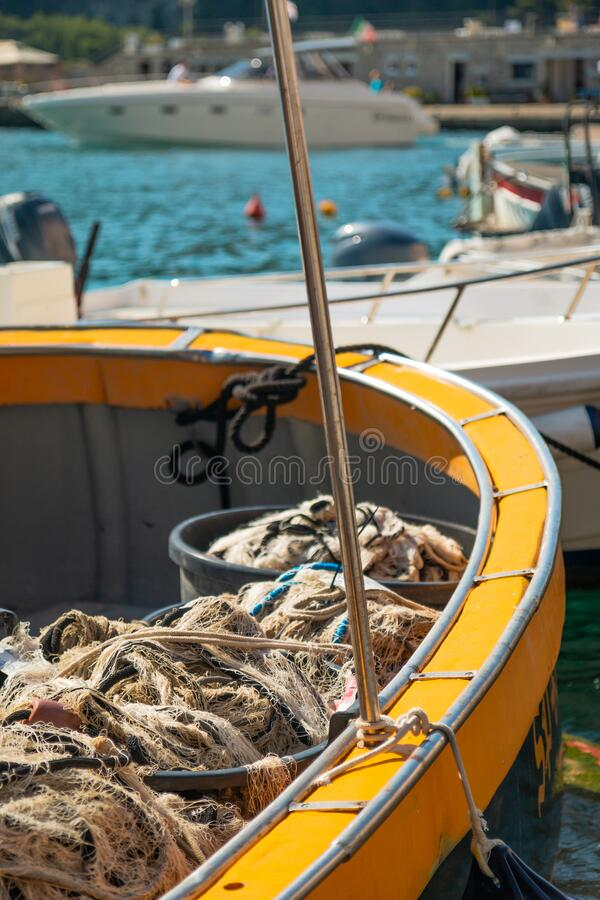 Boat Details in a beatiful sea. Bay of Vernazza. Boat Details in beatiful sea royalty free stock photos