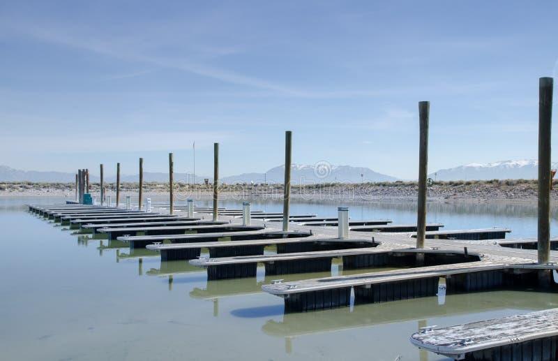Boat dock on Great Salt Lake, Utah. USA stock photos