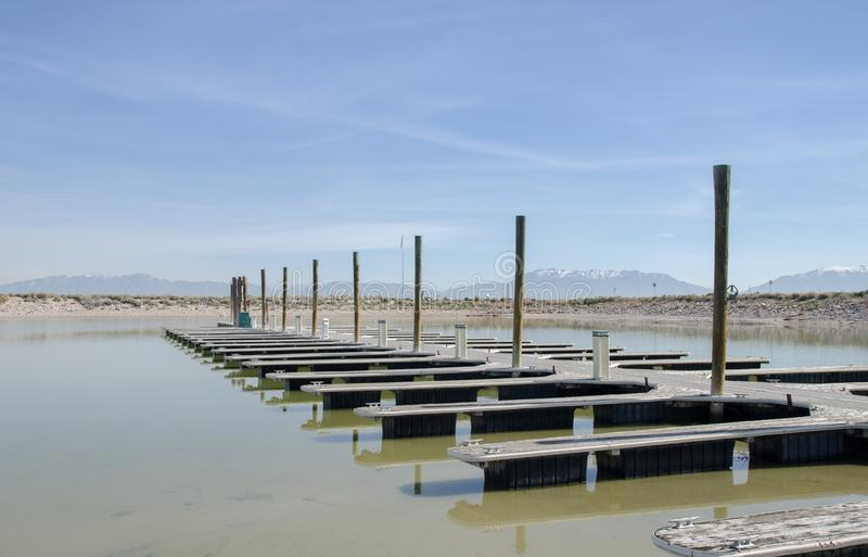Boat dock on Great Salt Lake, Utah. USA stock images