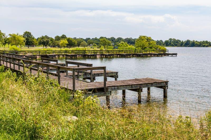 Boat Dock at Mount Trashmore Park in Virginia Beach stock image