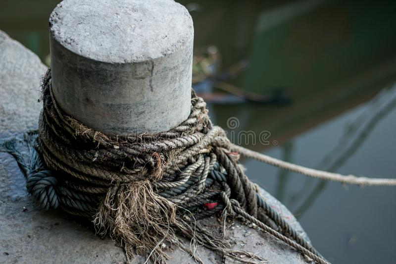 Boat docking point at a marina - fixed. A small harbor royalty free stock image