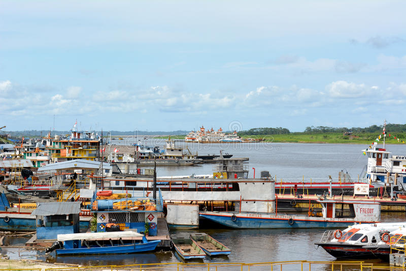 Boat Docks Iquitos Peru stock images