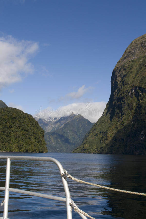 Download On A Boat Through Doubtful Sounds Stock Image - Image: 13019047