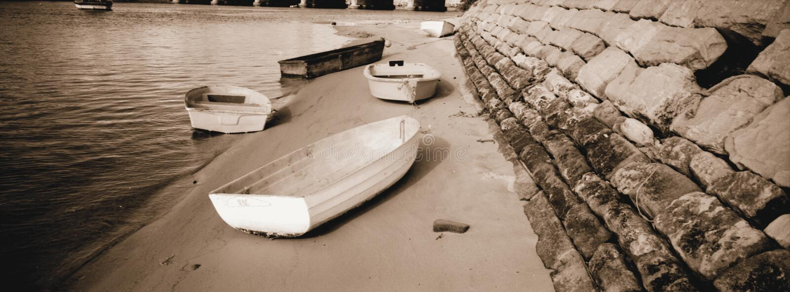 Rowing Boats duotone royalty free stock photography