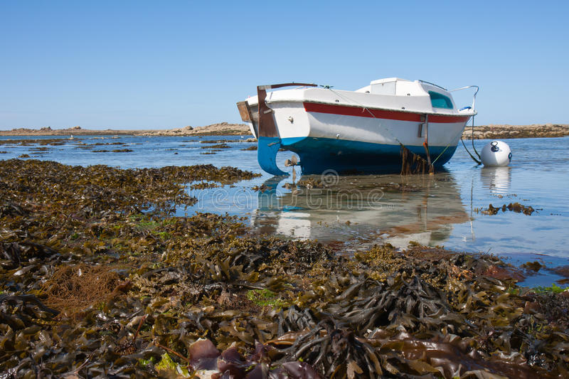 Boat at ebb tide in Bretagne, France royalty free stock image