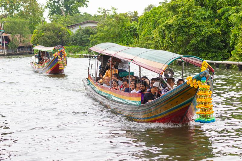 The  boat express service support people Travelers and water travel For quickness as an alternative stock photography