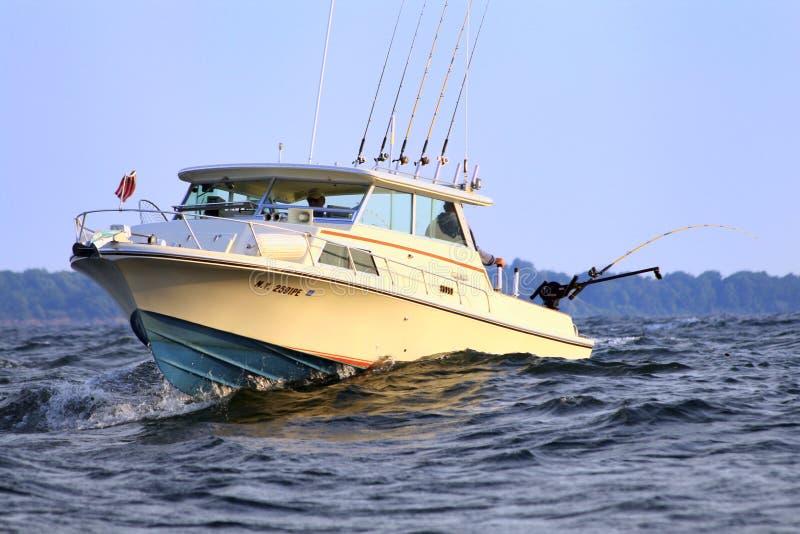 Boat Fishing Lake Ontario for Salmon stock photo