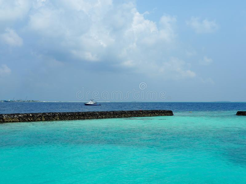 Blue sea at Maldives stock photo