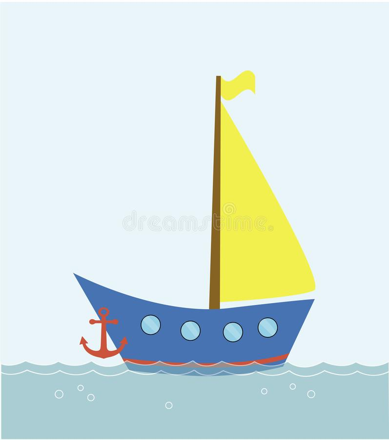 Boat floating in the sea, vector vector illustration