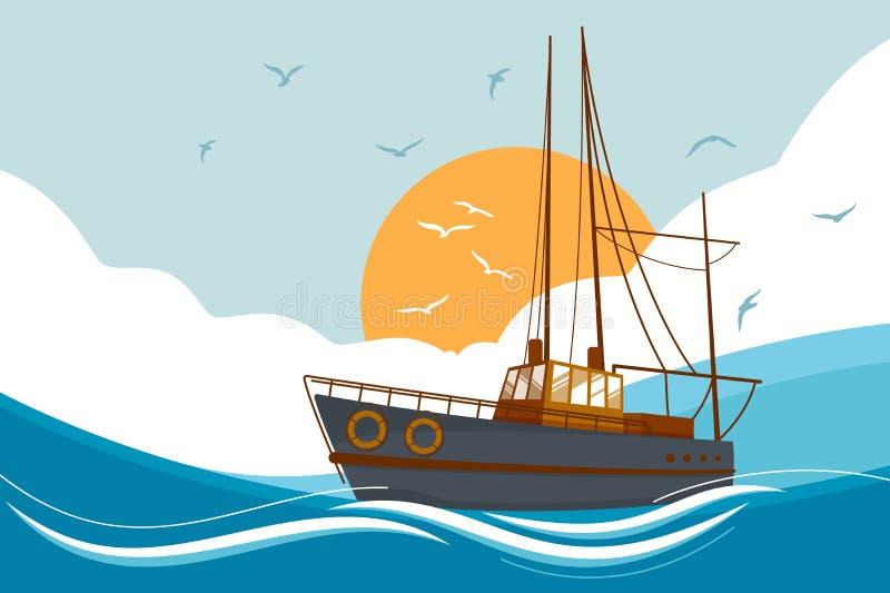 The Boat at Sea Clip Art