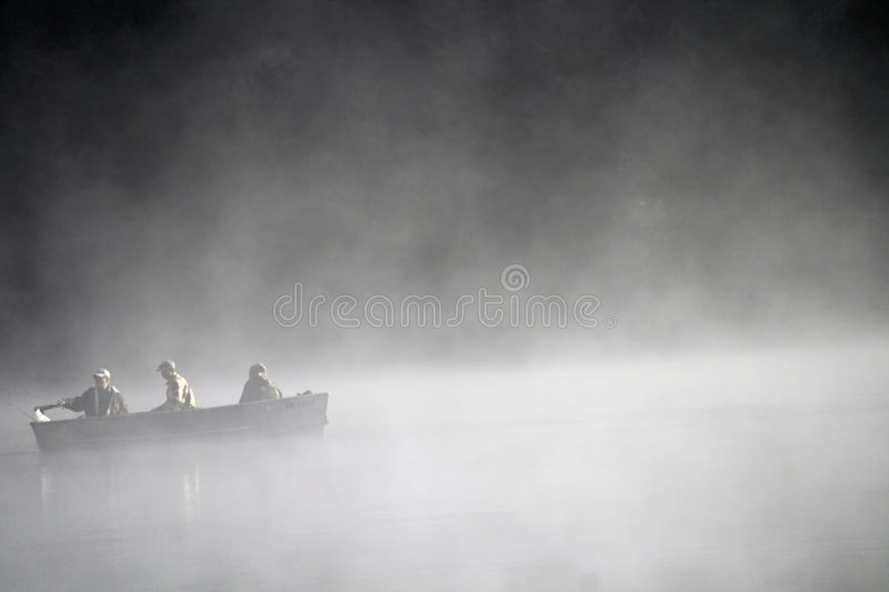 Download Boat on foggy lake stock photo. Image of vapory, together - 6202238