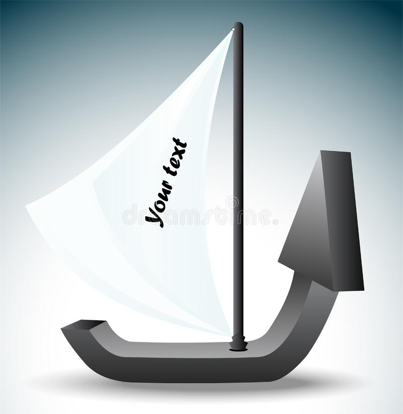 The boat in the form of an arrow. Symbolizing growth and development stock illustration