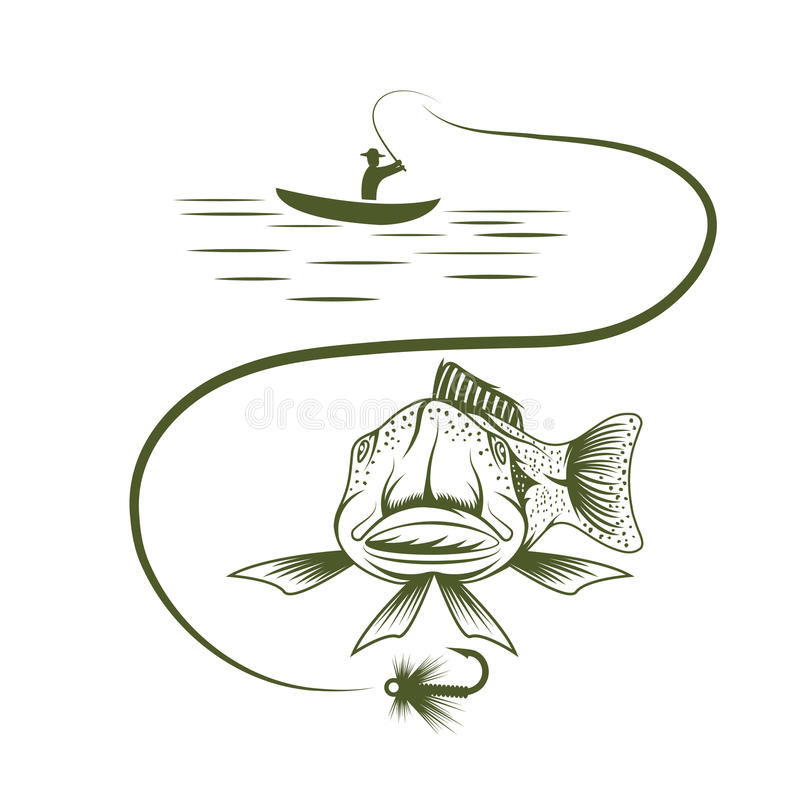 Boat and funny trout. Fisherman in boat and funny trout royalty free illustration
