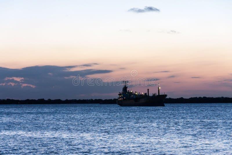 Boat Guaiba River Sunset Porto Alegre Brazil stock photo