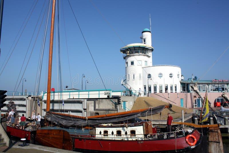 Boat in the harbor stock image