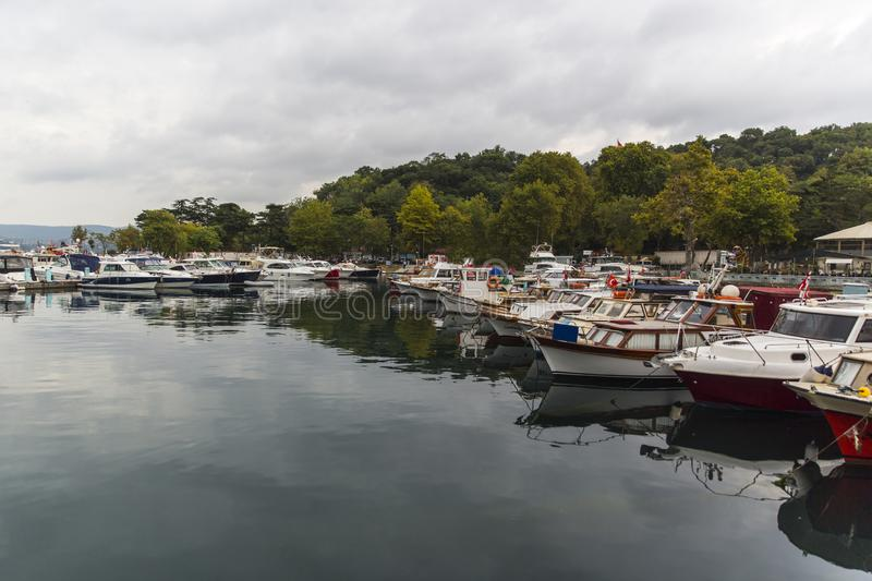 Boat Harbor in Istanbul Turkey royalty free stock photography
