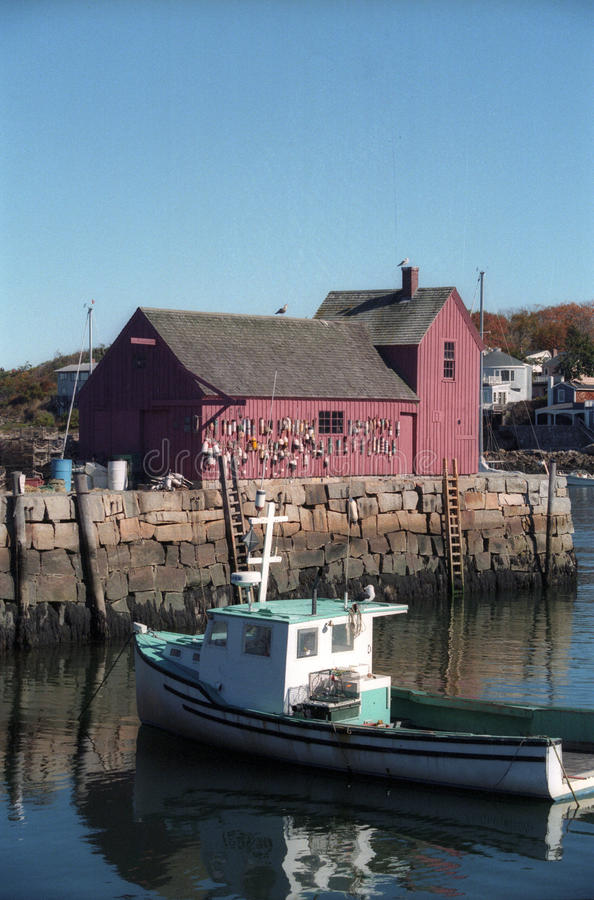 Boat in the harbor in Rockport Massachusetts stock photos