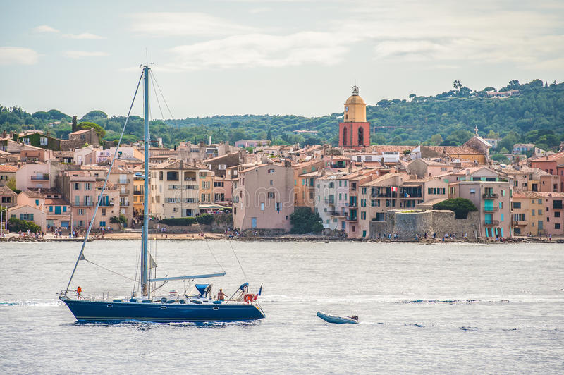 Boat in the harbor at Saint-Tropez stock images