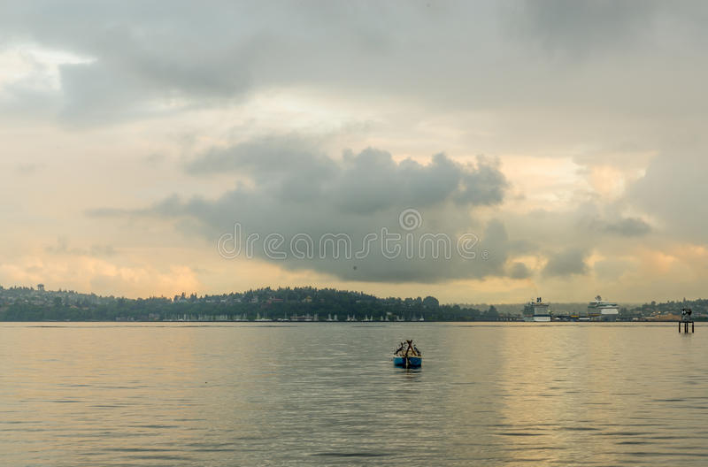 Boat on the harbor in Seattle Washington royalty free stock photography