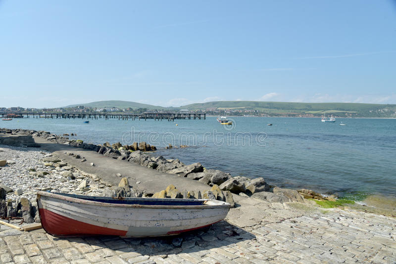 Boat in harbour, Peveril Point, Swanage. Dorset stock images