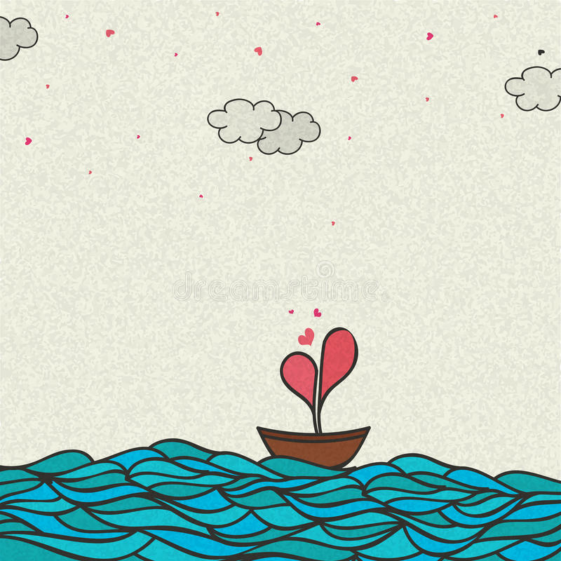 Boat with Heart for Valentine`s Day Celebration. Vector illustration of a Boat with creative Heart in the sea for Happy Valentine`s Day Celebration royalty free illustration