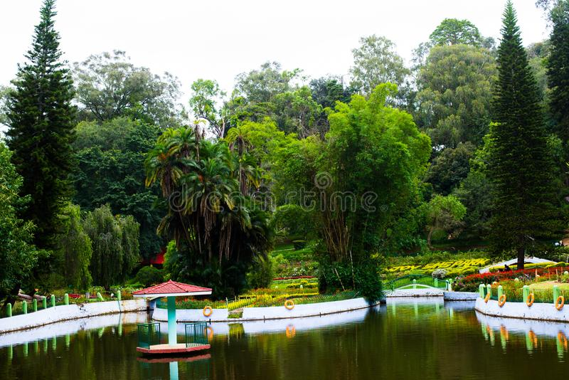 Boat house at Sims Park in Coonoor, Tamil Nadu stock photos