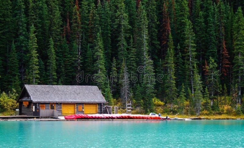 Boat house at lake louise royalty free stock photo