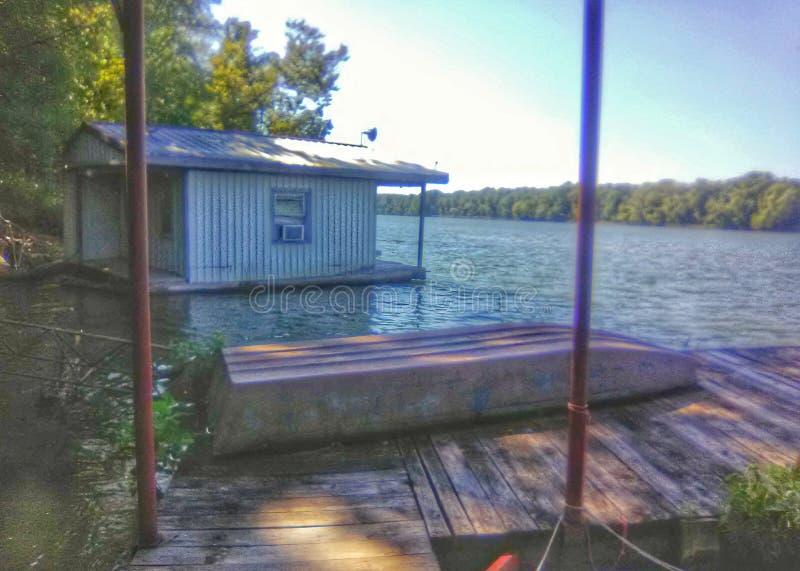 Boat house in Oklahoma stock photography