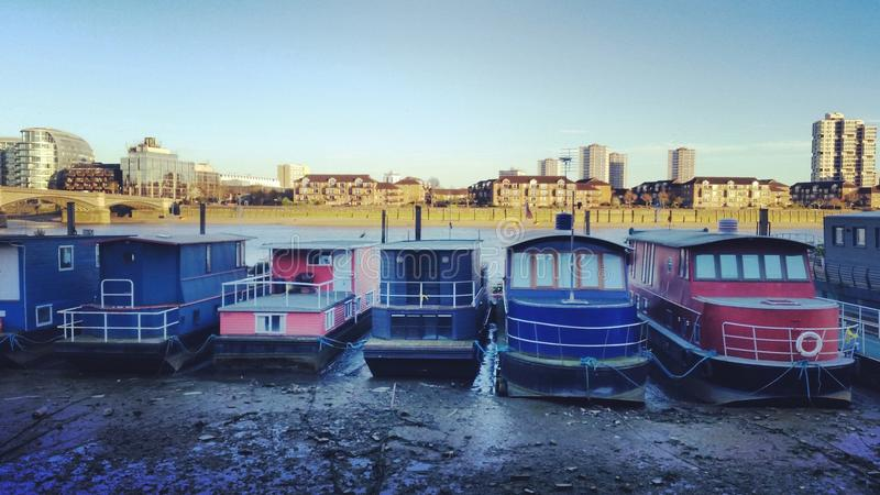 Boat house. By the river Thames in Chelsea & x28;London& x29 stock photos