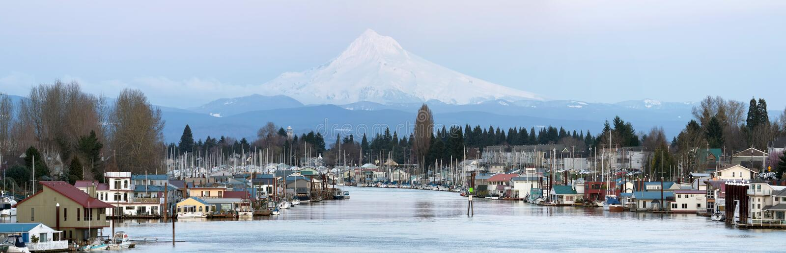 Boat Houses Along Columbia River and Mount Hood stock photos