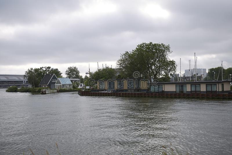 Boat houses in Amsterdam Noord royalty free stock images