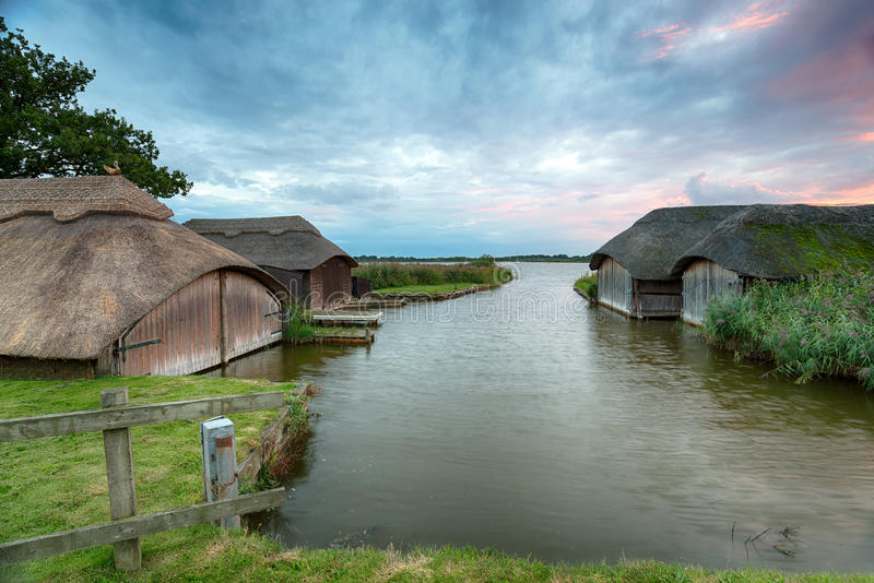 Boat Houses on the Norfolk Broads royalty free stock images