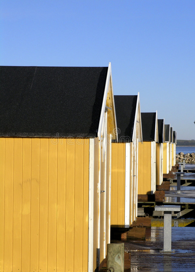 Boat houses on Struer habour stock image