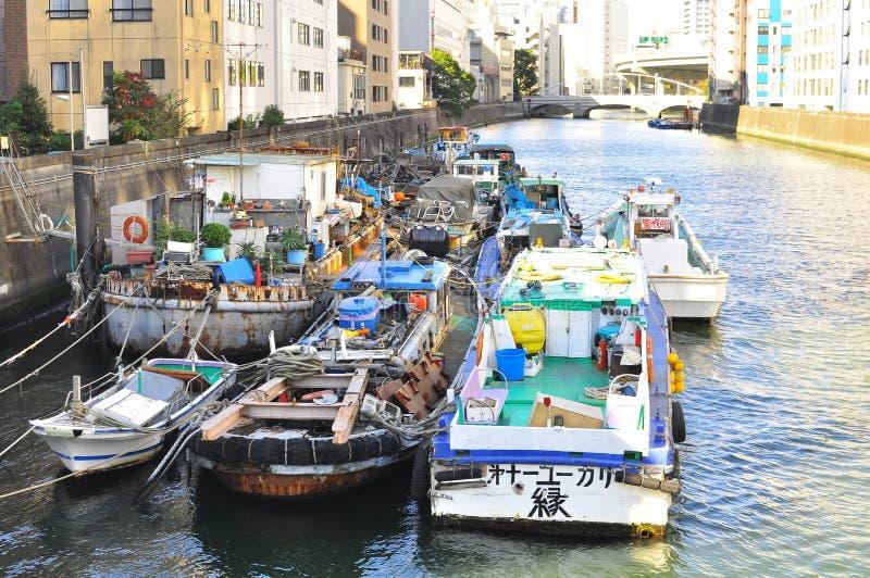 Boat Houses At Sumida River Of Tokyo Editorial Stock Image