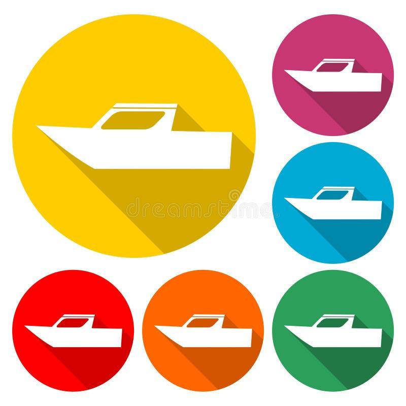 Boat Icon Flat Graphic Design - Illustration. Vector icon set stock illustration