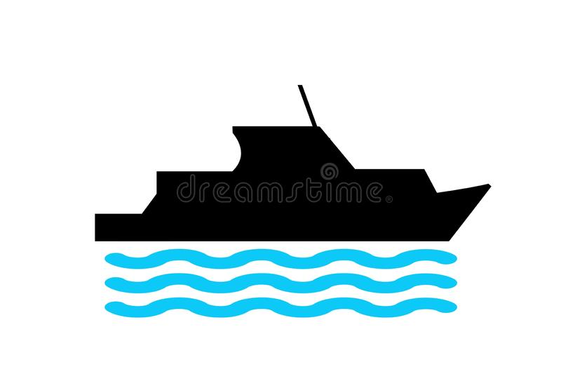 Boat icon logo design on white background. Cargo, marine, blue, black, silhouette, speed, transportation, element, symbol, simple, sea, water, derp, print stock illustration