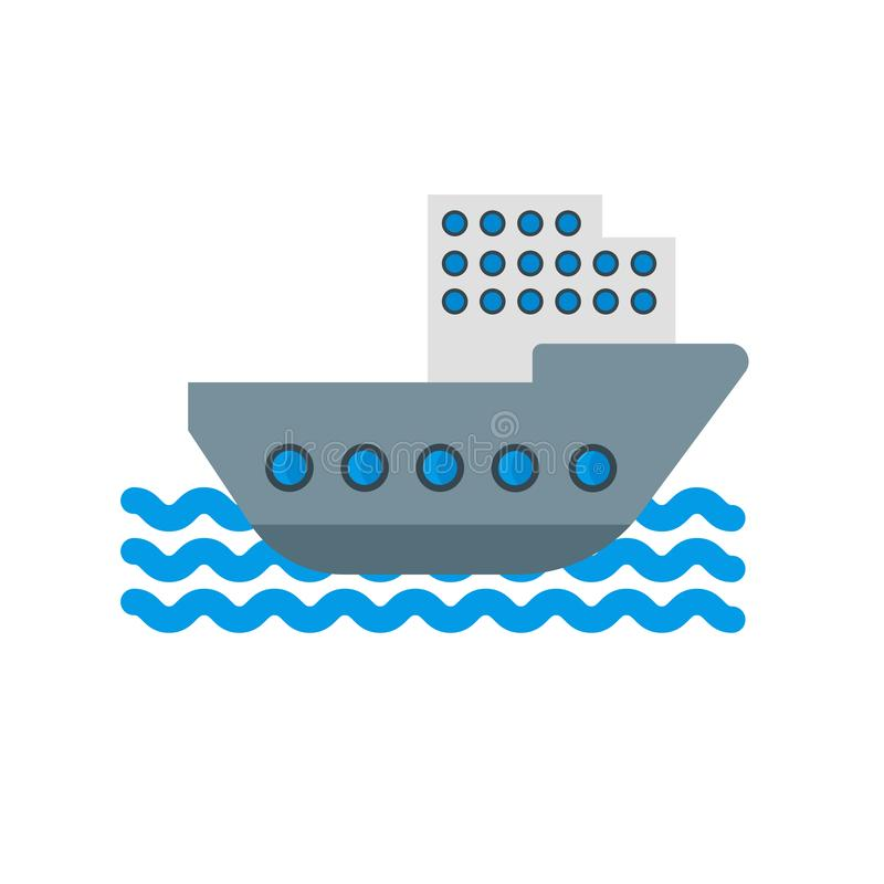 Boat icon vector sign and symbol isolated on white background. Boat icon vector isolated on white background for your web and mobile app design, Boat logo royalty free illustration