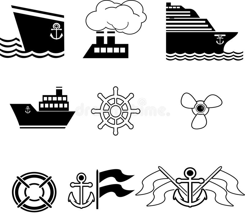 Boat icons. Silhouette of boat icons created in vector format stock illustration