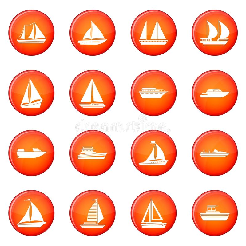 Boat icons vector set. Of red circles isolated on white background stock illustration