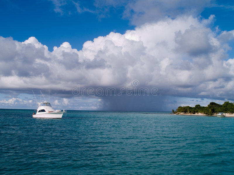 Boat Incoming Tropical Storm stock photography
