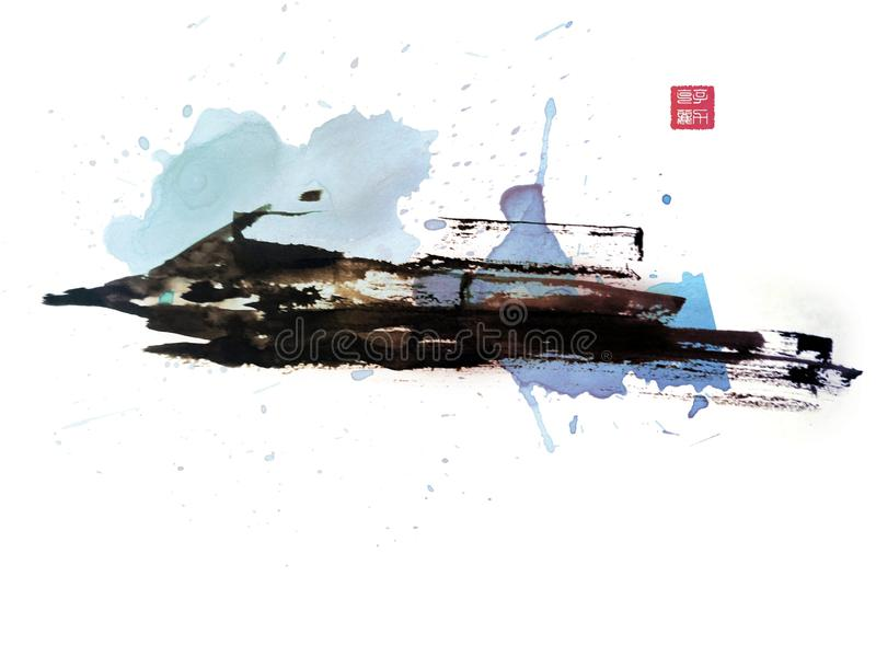Boat ink painting art stock photo