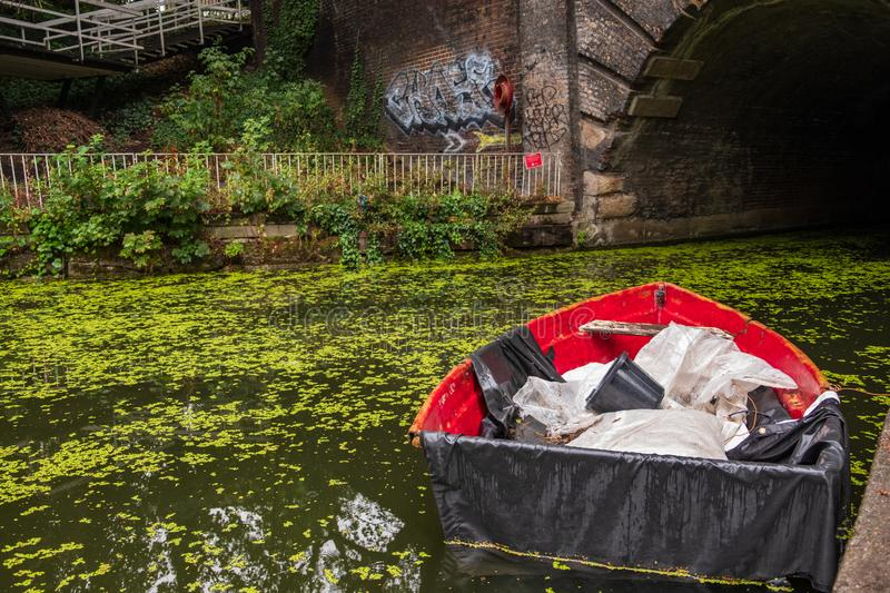 Boat on Islington Canal in Angel London. royalty free stock photo