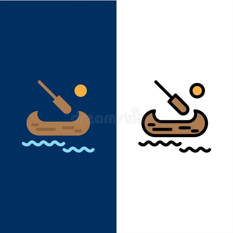 Boat, Kayak, Canada  Icons. Flat and Line Filled Icon Set Vector Blue Background royalty free illustration