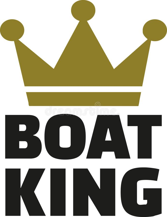Boat King with crown stock illustration