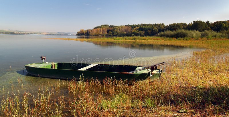 Boat by the lake. Small rowing boat by the lake royalty free stock photo