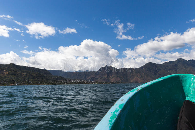 Boat on Lake Atitlan in Guatemala royalty free stock photography