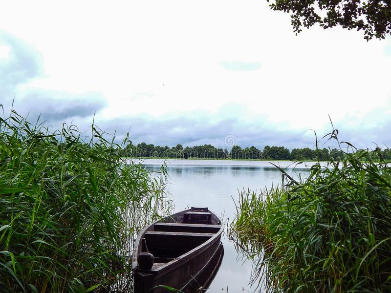 The boat on the lake between green grass stock photo