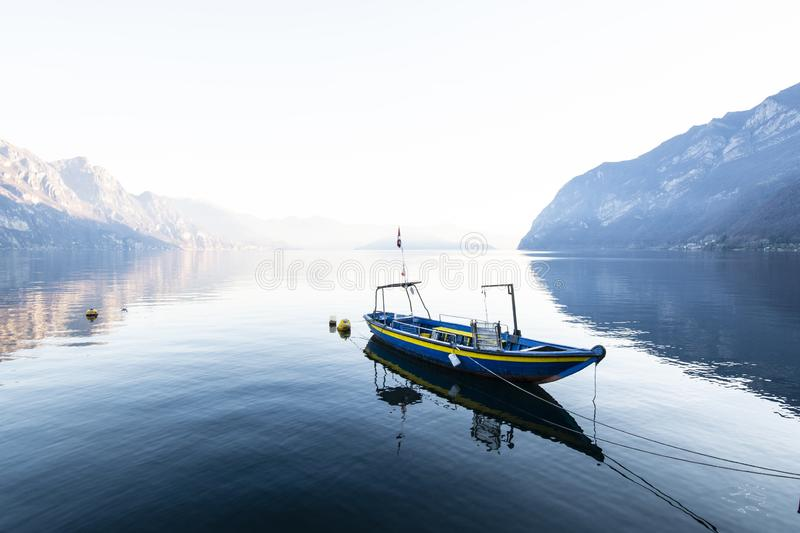 Boat on lake. Boat on Iseo Lake in Lombardy, Italy stock photos