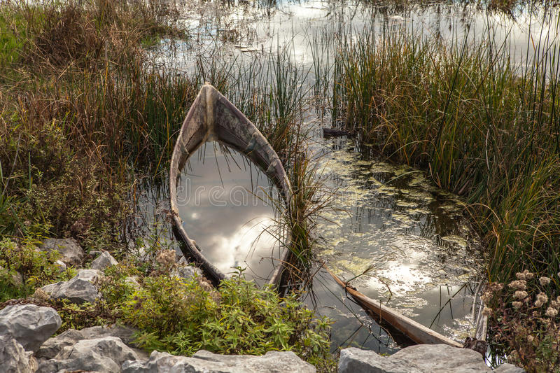 The boat in the lake. An old boat on the shore of the lake. The water in the boat stock images